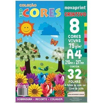 Bloco ecocores criativo 75g - 210x297mm - 32 folhas com 8 cores - Novaprint