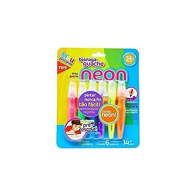 Tinta Guache em Bisnaga Neon 14 ml cada Tris