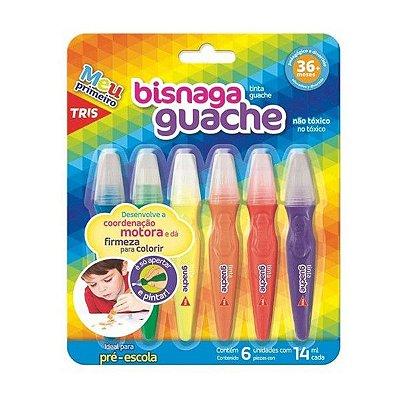 Tinta Guache Bisnaga Tris 6 Cores 14ML