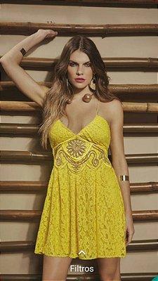 Vestido Renda Amarelo Mondabelle