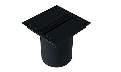 Lixeira Quadrada de embutir com puxador linear BLACK
