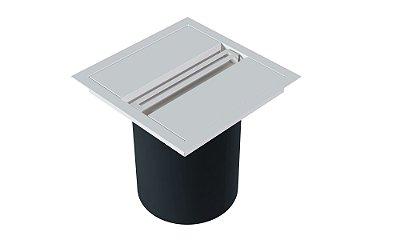 Lixeira Quadrada de embutir com puxador linear WHITE