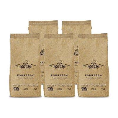 Promoção 5 kgs - Café Dona Irani Nobre torrado em grãos 1000g - Gourmet