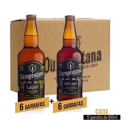 Caixa mix c/ 12 unidades - Golden + Café Lager Ouropretana 500ml