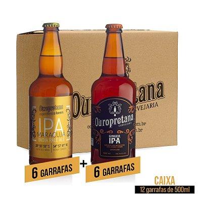 Caixa mix c/ 12 unidades - Maracujá + Ginger Ouropretana 500ml