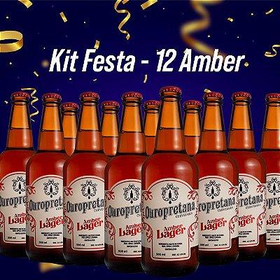 Kit Festa - 12 Ouropretanas Amber Lager 500ml