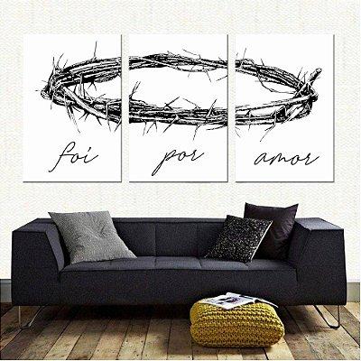 Quadro Coroa de Jesus Cristo 1 | Foi por Amor Tela Decorativa Mosaico