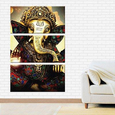 Quadro Ganesha Deusa da Prosperidade 3 Telas Decorativas