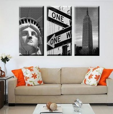 Quadro Estatua da Liberdade Empire State One Way kit 3 Telas Decorativa