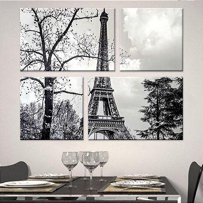 Quadro Torre Eiffel PB Conjunto Tela Decorativa