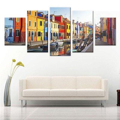 Quadro Veneza Cidade Sala 5 Telas Decorativas