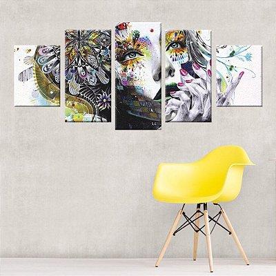 Quadro Abstrato Mulher Conjunto 5 Telas Decorativas