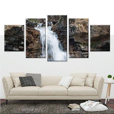 Quadro Cachoeira Natureza 5 Telas em Tecido em Canvas