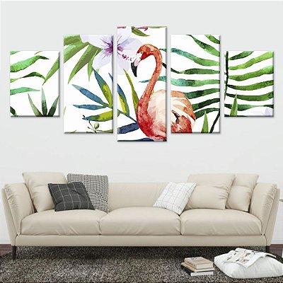 Conjunto 5 Quadros Tela Decorativa Floral 01 em Canvas