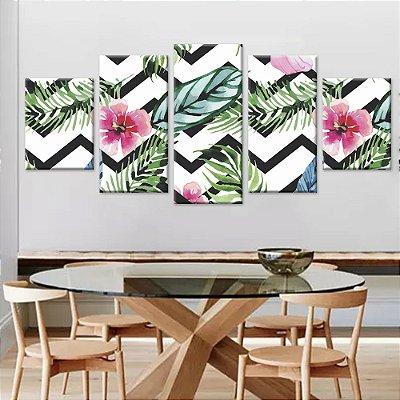 Conjunto de 5 Telas Decorativas Quadros  em Canvas Floral 02