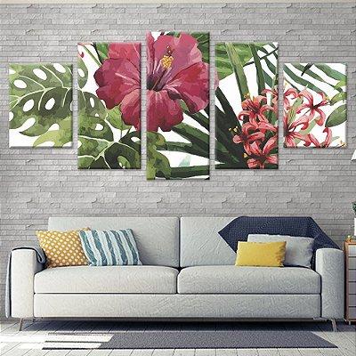 Conjunto de 5 Telas Decorativas Quadros em Canvas Floral 03