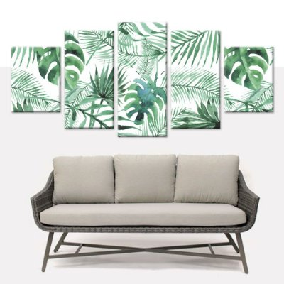 Conjunto 5 Quadros Telas Decorativas em Canvas Floral 05