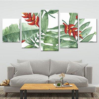 Conjunto 5 Quadros Telas Decorativas em Canvas Floral 08