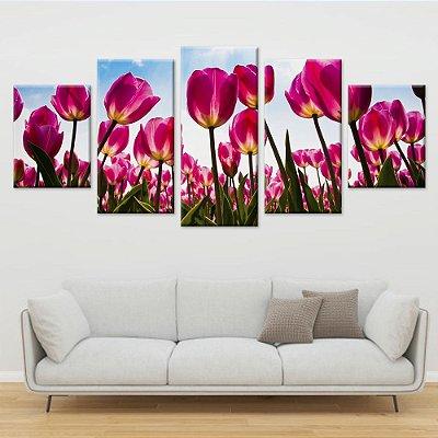 Conjunto 5 Telas Decorativas em Canvas Flores Tulipas