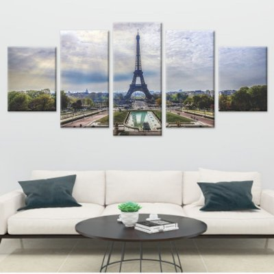 Conjunto 5 Quadros Telas em Canvas Torre Eiffel