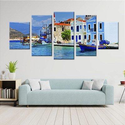 Conjunto 5 Quadros Telas em Canvas Mediteraneo