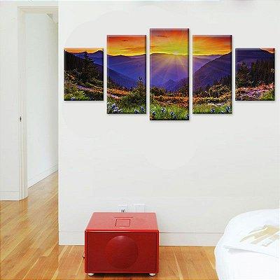 Conjunto 5 Quadros Tela Decorativa Por do Sol em Canvas