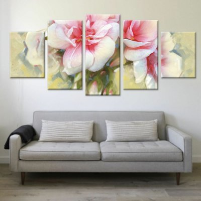 Conjunto 5 Quadros Tela Decorativa Flores 02 em Canvas