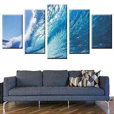 Conjunto 5 Quadros Telas Oceano Mar Onda em Canvas