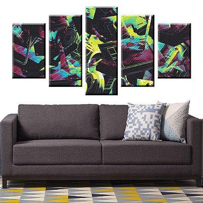 Conjunto 5 Quadros Telas Abstrato Tecnologia em Canvas