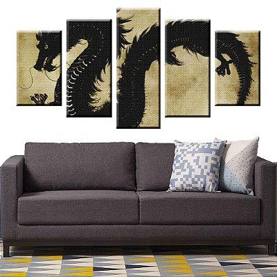 Conjunto 5 Quadros Tela Decorativa Dragão em Canvas