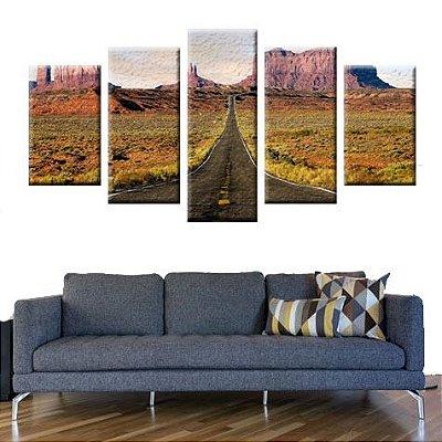 Conjunto 5 Quadros Telas Estrada em Canvas