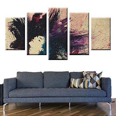 Conjunto 5 Quadros Telas Abstrato Mulher em Canvas