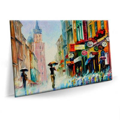 Quadro Pintura Abstrato Cidade Tela Decorativa