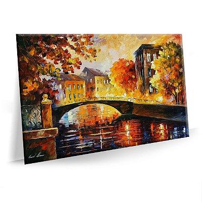 Quadro Pintura Paisagem Abstrato Ponte Tela Decorativa