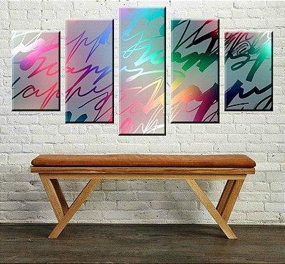 Conjunto 5 Quadros Telas Abstrato Happy em Canvas