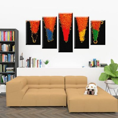 Conjunto 5 Quadros Telas Abstrato Lapis em Canvas