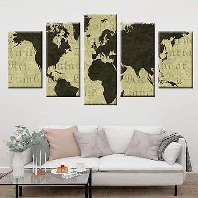 Conjunto 5 Quadros Telas Abstrato Mapa Mundi em Canvas