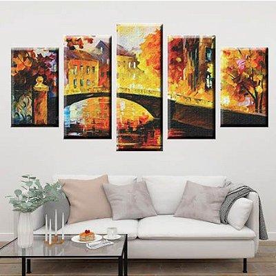 Conjunto 5 Quadros Telas Abstrato Ponte em Canvas
