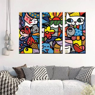 Quadro Romero Britto 3 Telas Decorativas