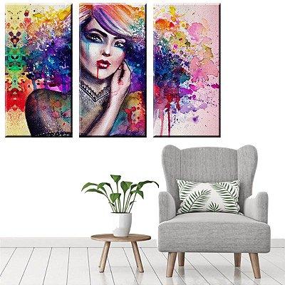 Quadro Quarto Mulher Colorida 3 peças Tela Decorativa