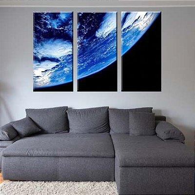 Quadro Planeta Terra 3 Peças Decorativas