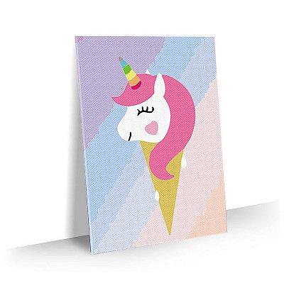Quadro Infantil Unicornio Sorvete Tela Decorativa