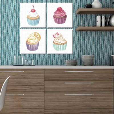 Quadro Cozinha Cup Cakes 4 Telas Decorativa