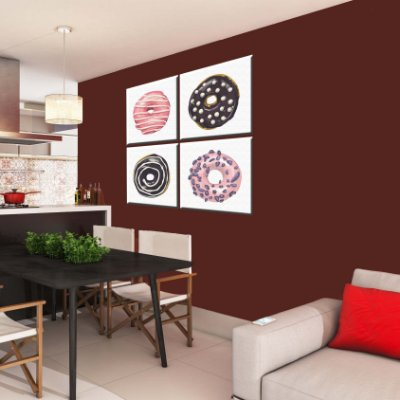 Quadro Cozinha Dunuts 4 Telas Decorativas