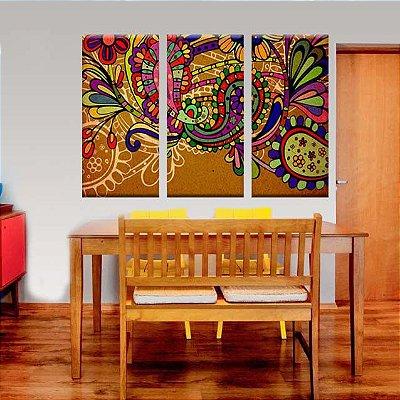 Conjuntos Quadros Decorativos India Textura 3 peças