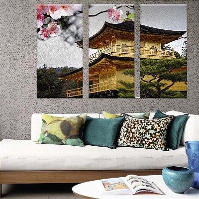 Conjunto Quadros Decorativos Templo Japão 3 peças