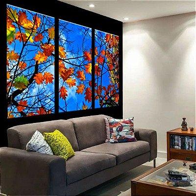 Conjunto de Telas Decorativas Folhas Outono 3 peças
