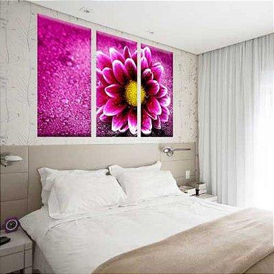 Conjunto de Telas Decorativas Flor Render 3 peças