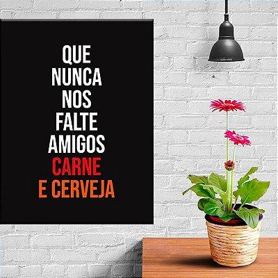Placa Decorativa Amigos Carne e Cerveja (AL) 30X40CM