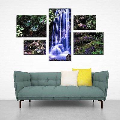 Conjunto Quadro Cachoeira Assimétrico em Tecido Canvas